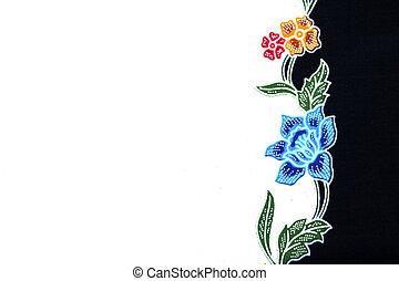 hermoso, batik, patrones, eso, ponerse, frontera, o, marco,...