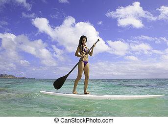 hermoso, biquini, morena, hawai