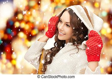 hermoso, blanco, mujer, suéter