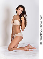 hermoso, blanco, mujer, underwear.