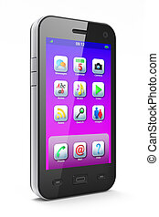 hermoso, blanco, smartphone, plano de fondo