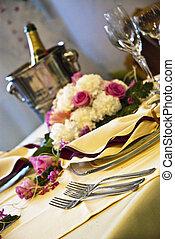 hermoso, boda, tabla