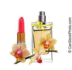 hermoso, botella, lápiz labial, aislado, amarillo, perfume, ...