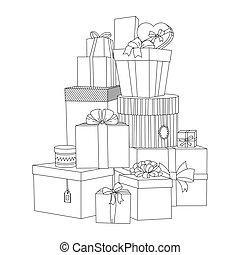 hermoso, box., illustration., regalo, grande, boxes., vector...