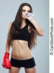 hermoso, boxeo, gris, niña, condición física, agua, plano de fondo, bebida, sexual