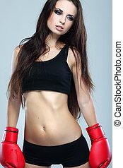 hermoso, boxeo, gris, niña, condición física, plano de fondo, sexual