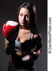 hermoso, boxeo, niña, condición física