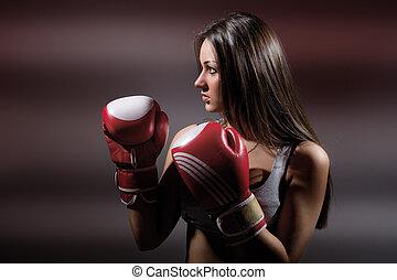 hermoso, boxeo, oscuridad, niña, condición física, plano de fondo