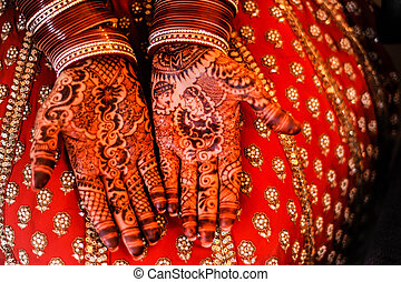 hermoso, brazaletes, alheña, novia, hands.
