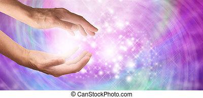hermoso, brillante, curación, energía