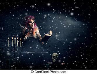hermoso, brujería, encima, fondo., bruja, elaboración,...