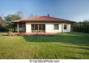 hermoso, bungalow, jardín