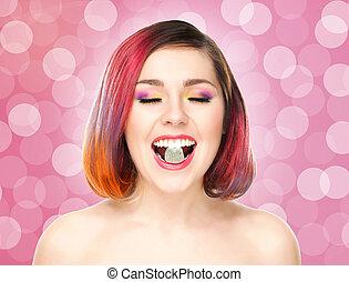 hermoso, burbujeante, coloreado, jalea, pelo, fondo., boca, niña, teniendo