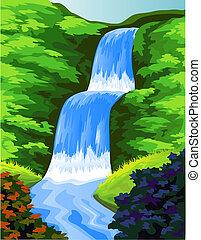 hermoso, caída agua