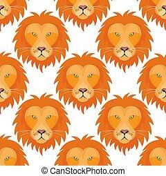 hermoso, cabeza, pauta fondo, real, seamless, mano, tigre, león, vector, animal, dibujado, cara, illustration.