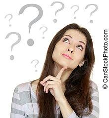 hermoso, cabeza, pensamiento de la mujer, pregunta, aislado,...