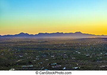 hermoso, cactos, arizona, verde, tuscon, ocaso