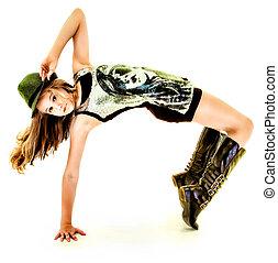 hermoso, cadera, bailando, tween, salto, niña