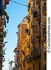 hermoso, calles, de, barceloneta, vecindario, en, barcelona