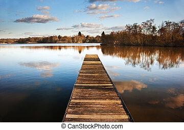 hermoso, calma, de madera, imagen, embarcadero, lago, ocaso,...
