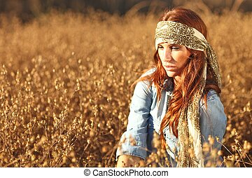 hermoso, campo, mujer, Verano