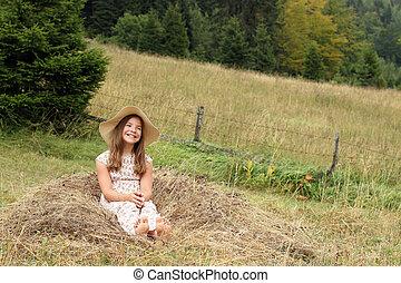 hermoso, campo, niña, feliz
