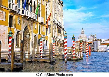 hermoso, canal, calle, italia, venecia