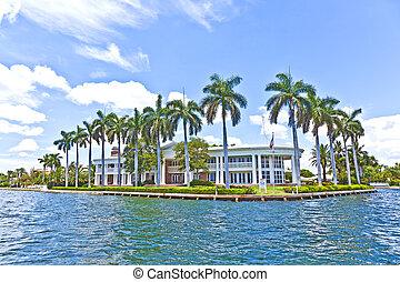 hermoso, canal, casas, lauderdale, vista, fortaleza