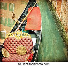 hermoso, canal, venecia italia, postal, góndola, vendimia