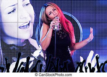 hermoso, cantante, hembra