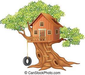 hermoso, casa, árbol, caricatura