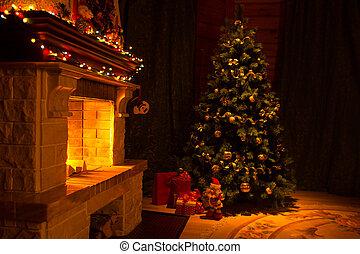 hermoso, casa, adornado, para, navidad, interior, con, chimenea