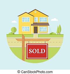 hermoso, casa azul, muestra vendida, norteamericano, plano...