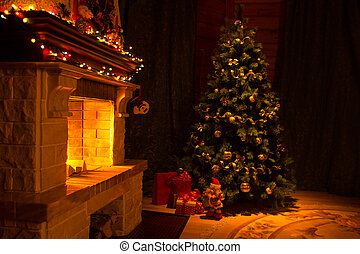 hermoso, casa, interior, adornado, chimenea, navidad