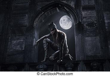 hermoso, catwoman, caza, por la noche