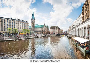 hermoso, centro de la ciudad, hamburgo, alemania, vista