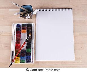 hermoso, cepillos, artista, pinturas, acuarela, álbum, composición