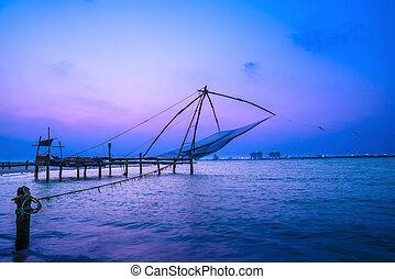 hermoso, chino, kerala., kochi, fishnets, kochi, crepúsculo,...