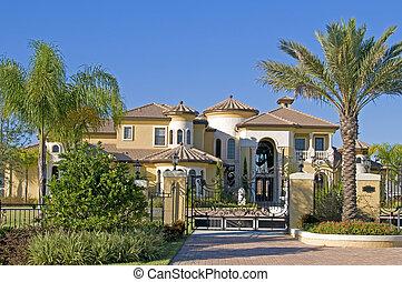 hermoso, cielo azul, árboles, palma, mansión