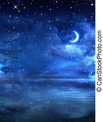 hermoso, cielo de la noche, en, el, mar abierto