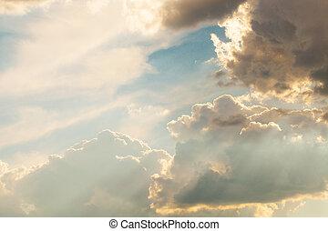 hermoso, cielo dramático, tormenta, antes