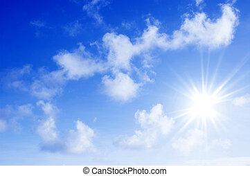 hermoso, cielo, y, nubes