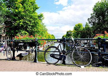 hermoso, ciudad, amsterdam