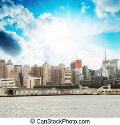hermoso, ciudad, encima, hudson, cielo, colores, river.,...