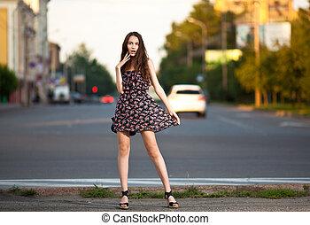 hermoso, ciudad, mujer, joven