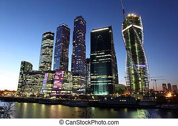 hermoso, ciudad, rascacielos, centro negocio, moscú, noche,...