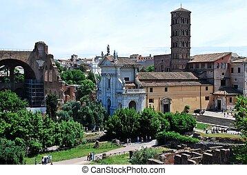 hermoso, ciudad, roma, viejo, ruinas