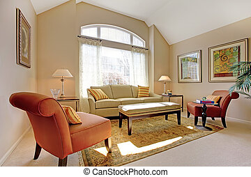 hermoso, clásico, sala, con, elegante, furniture.