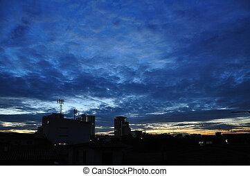 hermoso, cloudscape, silueta