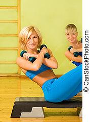 hermoso, club, mujeres, ejercitar, condición física